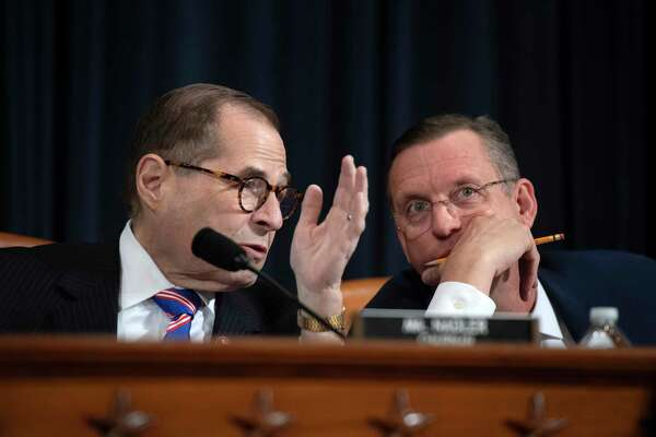 House Judiciary Committee Chair Jerry Nadler, D-NY, left, speaks with ranking member, Doug Collins, R-Ga, at the impeachment hearing in Washington, D.C., on Dec. 4.