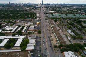 Westheimer Road spans 10 lanes where it intersects with the eight lanes of Voss Road and Hillcroft Avenue, seen Sept. 20, 2018 in Houston. Nearly nine miles of Westheimer will be repaved, starting in March.