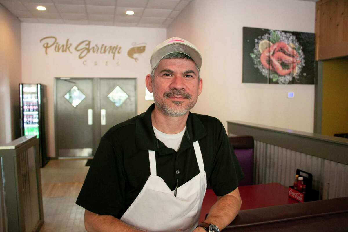 Pink Shrimp Cafe is a family-owned small business that only opened Thanksgiving week. The design of the restaurant was meant to provide a more family-friendly atmosphere, especially for larger families like owner Santiago Jimenez, who has four children with his wife Febe, by making a walk-up counter to order to avoid the tip fee for waiters. Jimenez had worked in the restaurant industry for over 30 years before opening his restaurant.