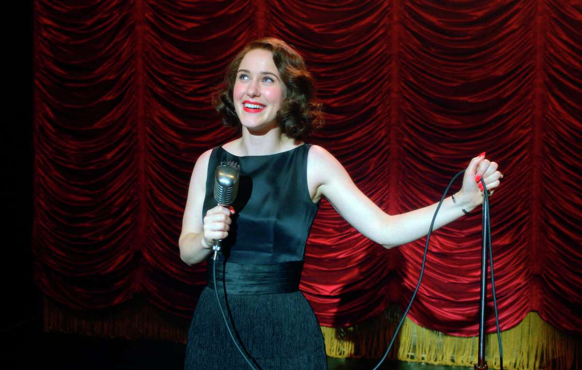 This image released by Amazon Studios shows Rachel Brosnahan in a scene from a€œThe Marvelous Mrs. Maisel.