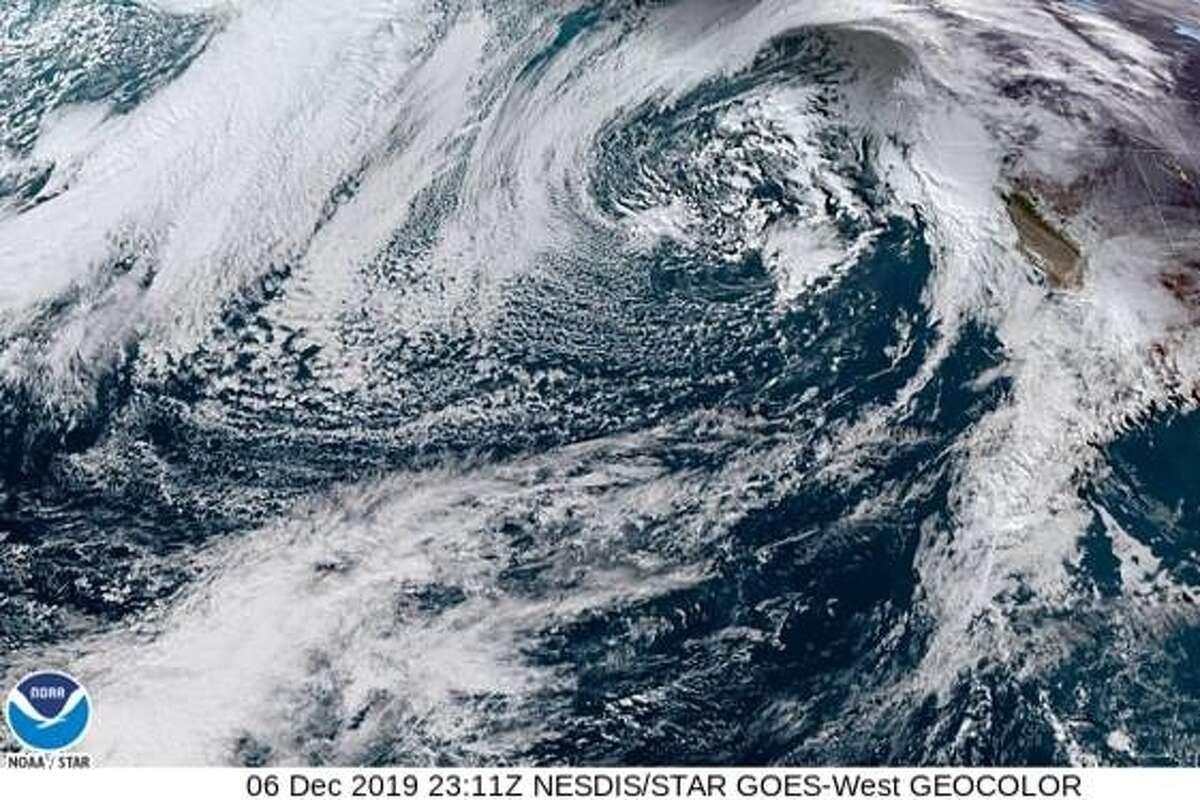 NASA's GOES-17 depicting a storm approaching California on the afternoon of Dec. 6, 2019.