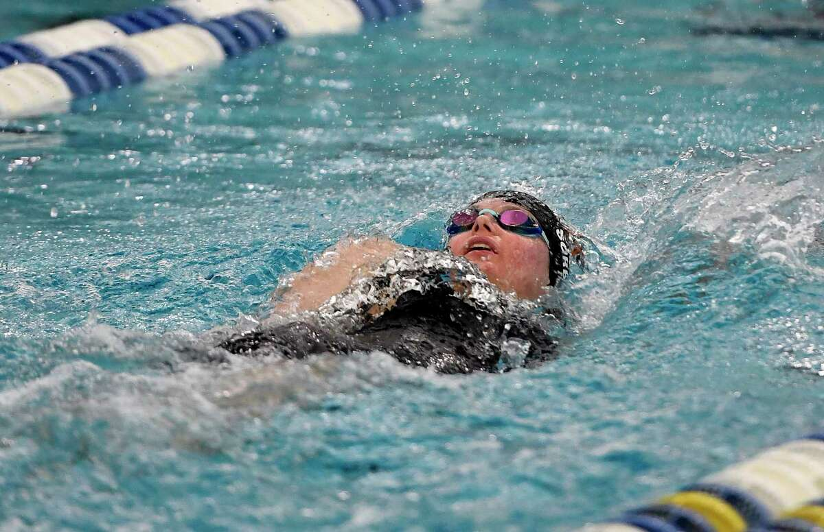 Bethlehem's Sydney Sorbello swims in the finals of the 100 yard backstroke during the 2018 NYSPHSAA Girls Swimming & Diving Championships in Ithaca, N.Y., Saturday, Nov. 17, 2018. (Adrian Kraus / Special to the Times Union)