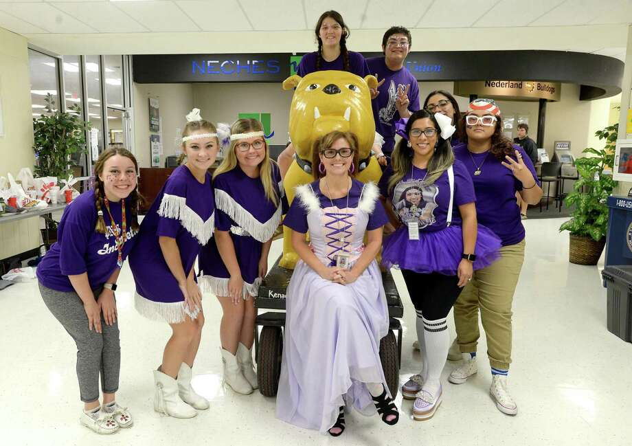 """Students and staff at Nederland High School swap their Bulldog gear for Port Neches-Indians attire with a """"nerd"""" theme as spirited events continue leading up to Friday's Mid-County Madness match-up at Nederland. Photo taken Thursday, November 7, 2019 Kim Brent/The Enterprise Photo: Kim Brent / The Enterprise / BEN"""