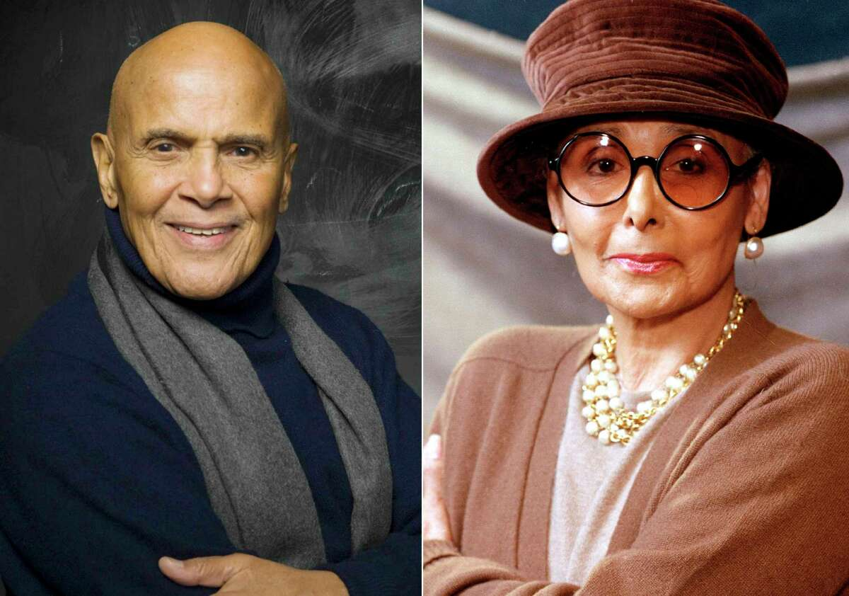 This combination photo shows actor, singer and activist Harry Belafonte during the 2011 Sundance Film Festival in Park City, Utah on Jan. 21, 2011, left, and singer, actress and activist Lena Horne in New York on April 7, 1994. Horne was a fierce advocate for civil rights in her later years, but that part of her legacy is often pushed behind her glamorous image. Her good friend Harry Belafonte hopes that a new award in her honor will push that aspect of her life front and center. The newly created Lena Horne Prize for Artists Creating Social Impact was announced last month. On Friday, it was revealed that Solange Knowles would become the first recipient of the prize, to be awarded in a ceremony at New Yorka€™s Town Hall on Feb. 28. (AP Photo)