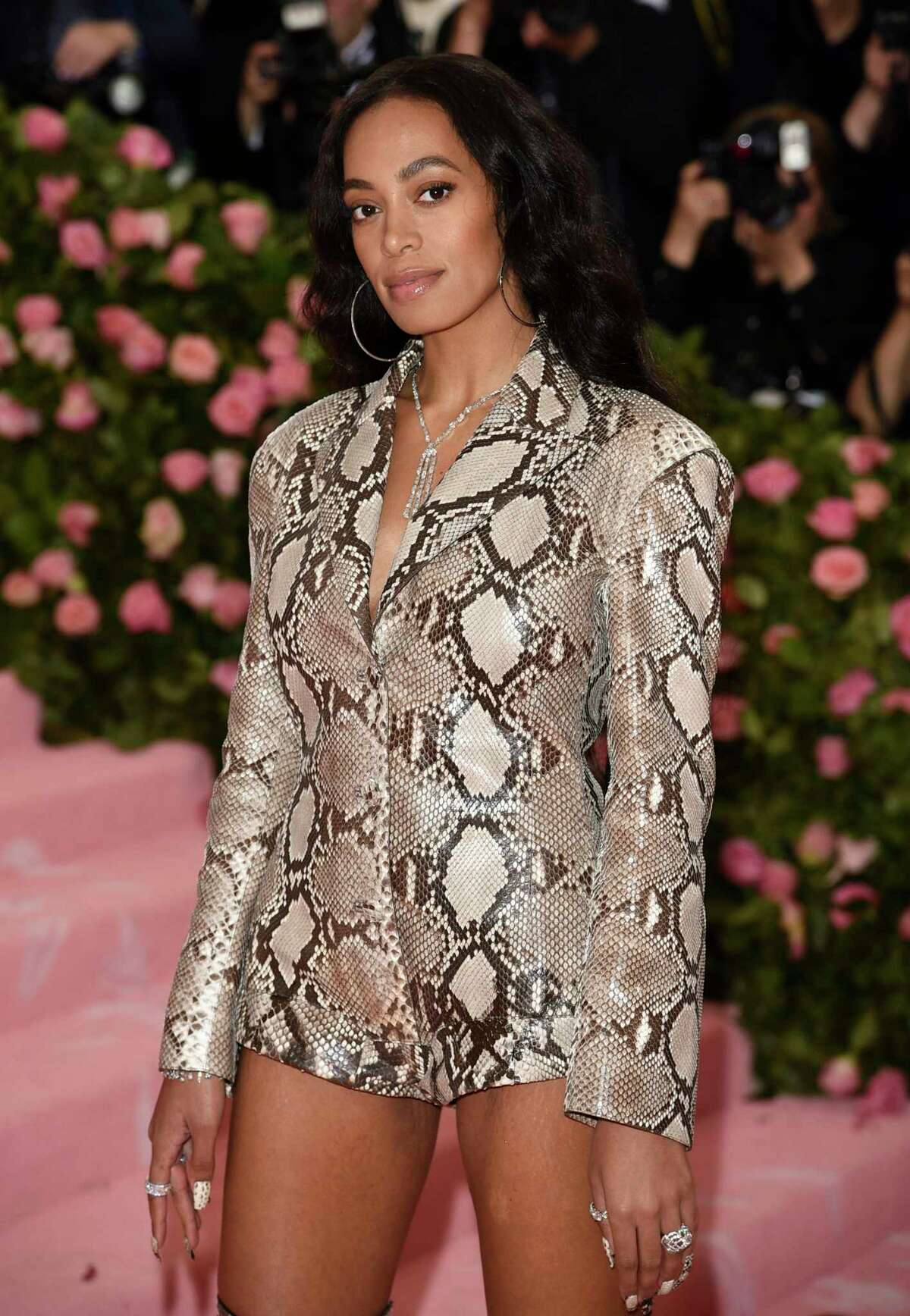 FILE - This May 6, 2019 file photo shows Solange Knowles at The Metropolitan Museum of Art's Costume Institute benefit gala in New York. Knowles will be the first recipient of the Lena Horne Prize, to be awarded in a ceremony at New Yorka€™s Town Hall on Feb. 28. (Photo by Evan Agostini/Invision/AP, File)