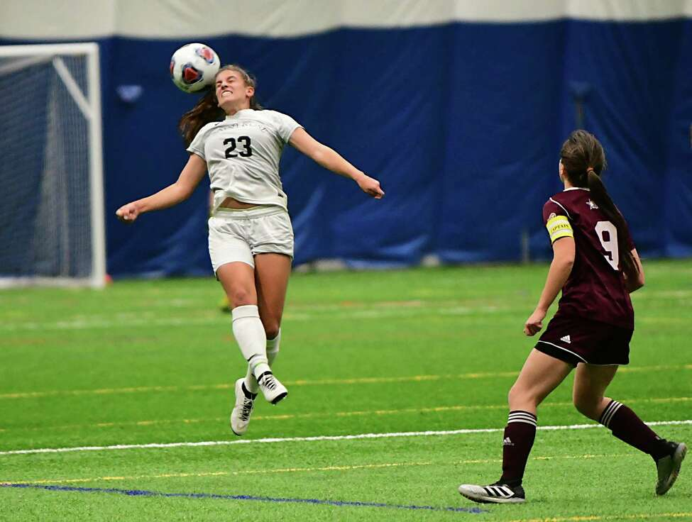 St. Rose's Deanna Trongone heads the ball against Molloy in a third-round soccer game of the Division II NCAA Tournament at Afrim's Sports Complex on Friday, Dec. 6, 2019 in Colonie, N.Y. (Lori Van Buren/Times Union)
