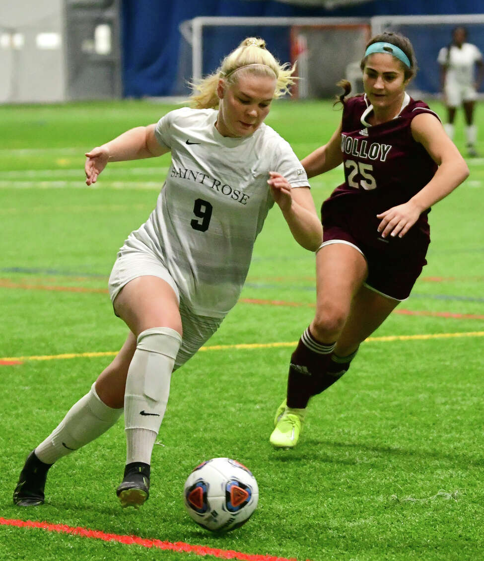 St. Rose's Sanna Rein battles for the ball with Molloy's Eleni Sofroniou in a third-round soccer game of the Division II NCAA Tournament at Afrim's Sports Complex on Friday, Dec. 6, 2019 in Colonie, N.Y. (Lori Van Buren/Times Union)