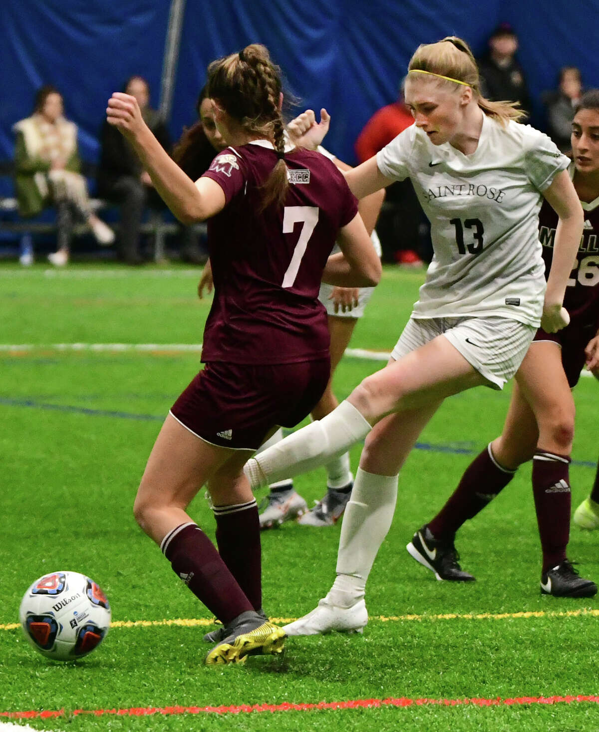 St. Rose's Olivia Boucher, #13, kicks the ball past Molloy's Joanna Mauceri, #7, to score in the first half of a third-round soccer game of the Division II NCAA Tournament at Afrim's Sports Complex on Friday, Dec. 6, 2019 in Colonie, N.Y. (Lori Van Buren/Times Union)