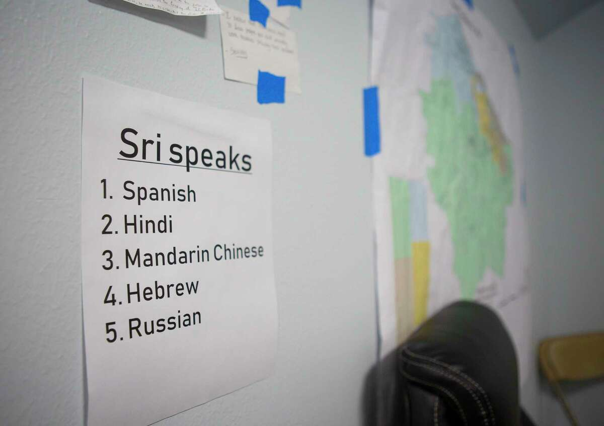 A note reminds volunteers with 22nd District candidate Sri Preston Kulkarni's campaign which languages the Democrat, a former foreign service officer, speaks.