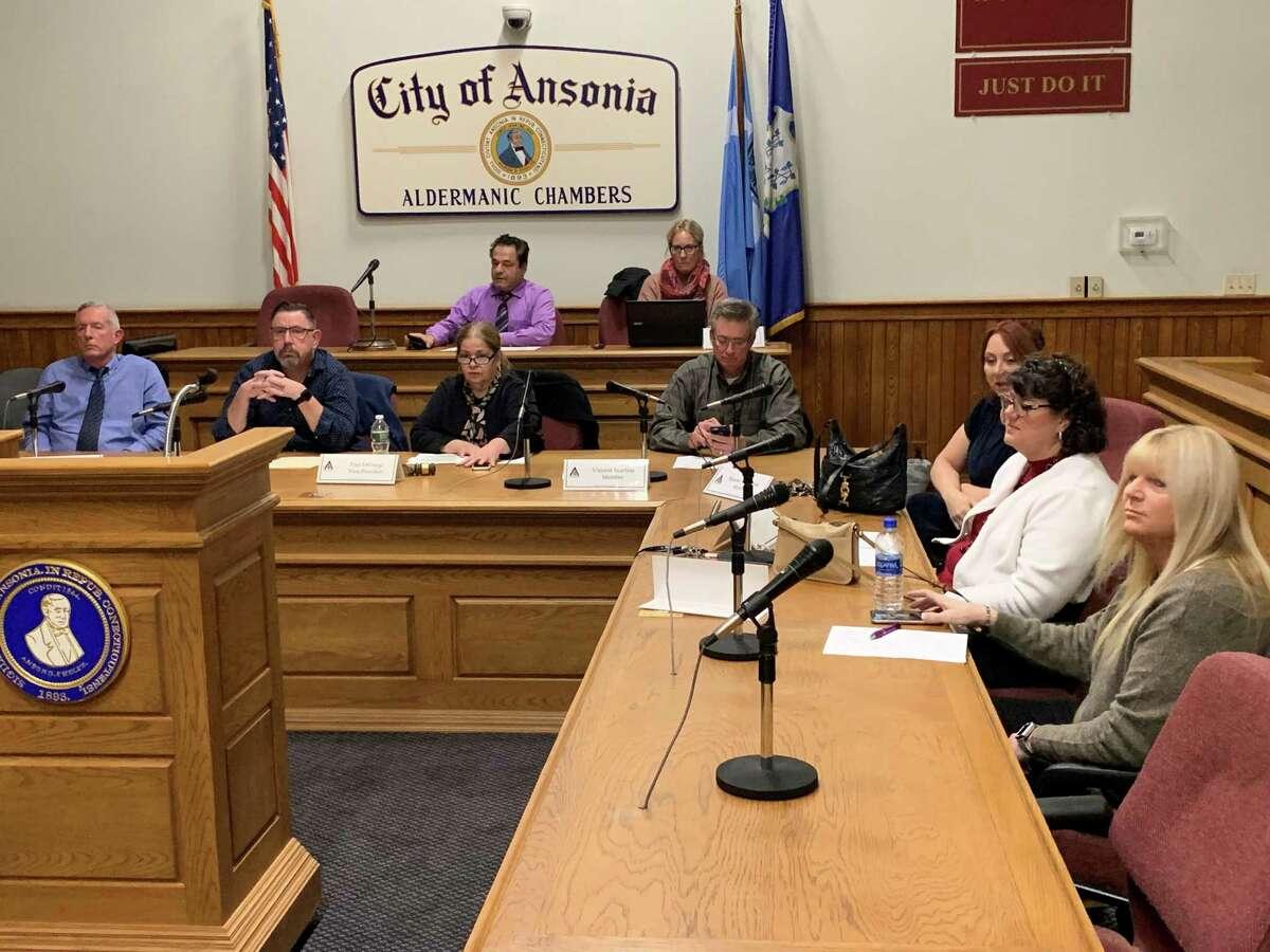 Ansonia Board of Education, from left, Phil Tripp, Chris Phipps, Fran DiGiorgi, Vinnie Scarlata, Sharon Voroschak, Tracey DeLibro and Bobbi Tar.