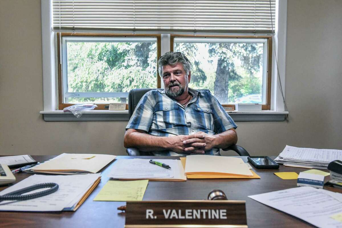 FILE -- Town Supervisor Robert Valentine in his office in Chester, N.Y., on July 24, 2019. For the past two years, the residents of a small town 60 miles north of New York City have openly fretted about a proposed housing development that they fear will be filled with Hasidic Jews. (Stephanie Keith/The New York Times)