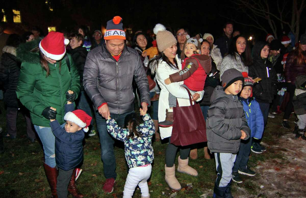 The annual holiday tree lighting event at Town Hall Green in Trumbull, Conn., on Friday Dec. 6, 2019.