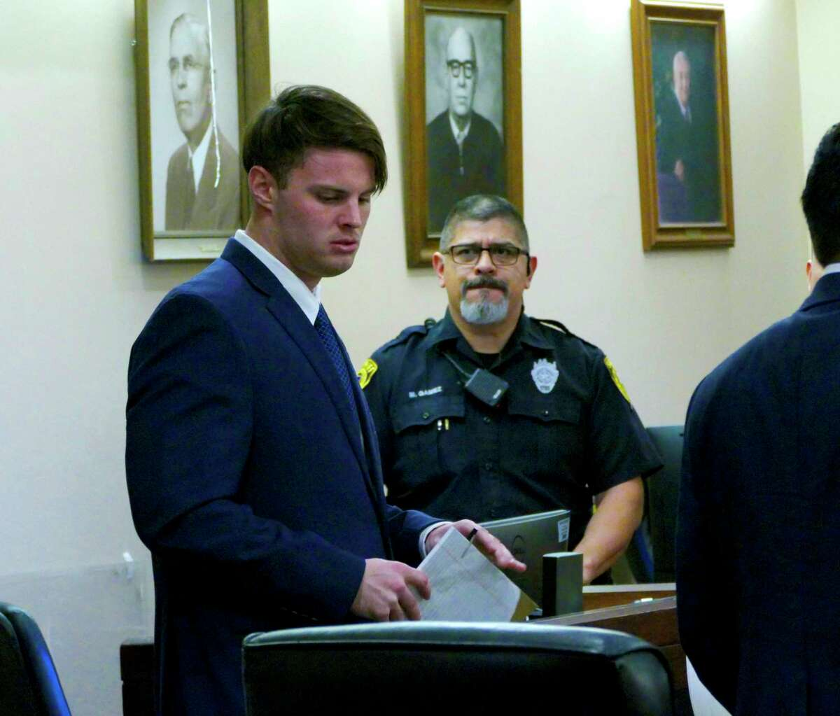 Mark Howerton, accused of killing Cayley Mandadi, stands in144th State District Court on Friday, Dec. 6, 2019.