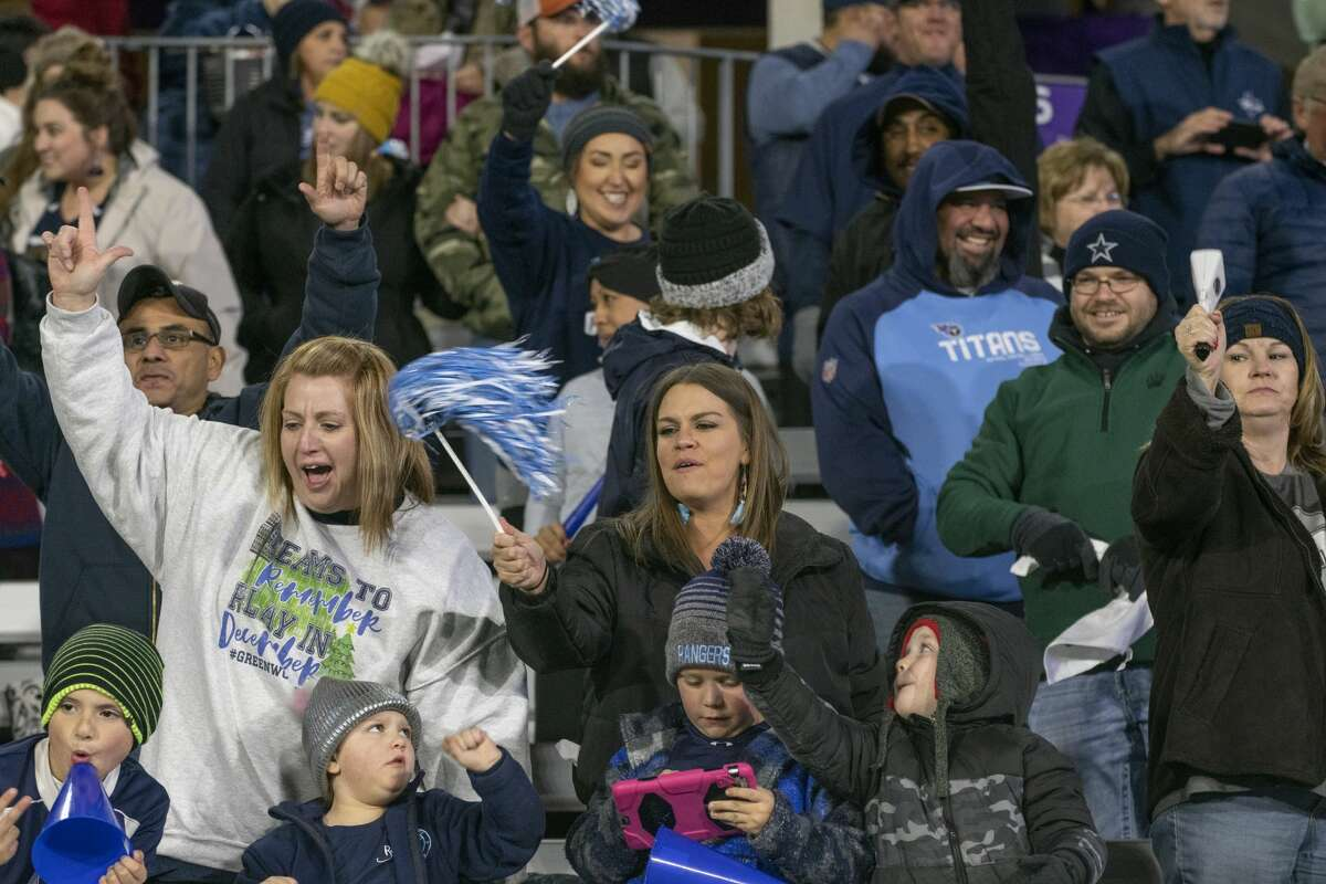Greenwood fans cheer on their team as they take on Iowa Park 12/06/19 at Anthony Field on the campus of Abilene Christian University. Tim Fischer/Reporter-Telegram