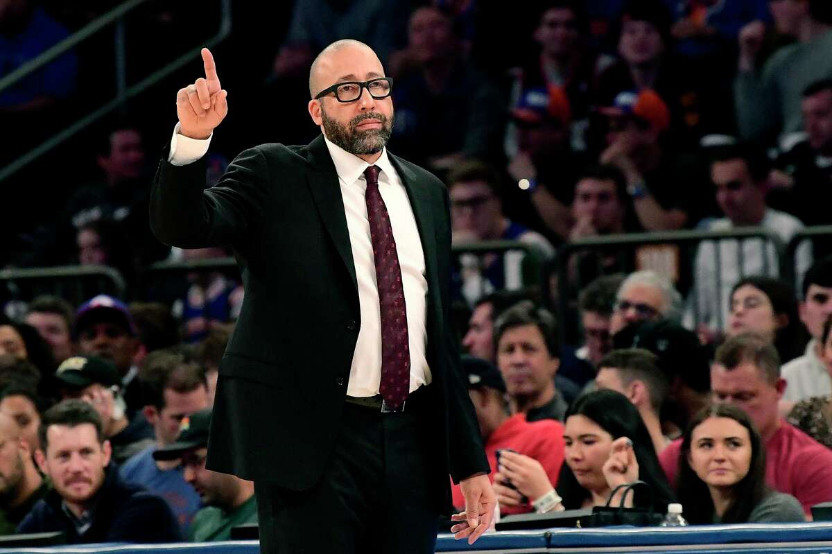 New York Knicks coach David Fizdale reacts during the first half of the team's NBA basketball game against the Philadelphia 76ers on Friday, Nov. 29, 2019, in New York. (AP Photo/Steven Ryan)