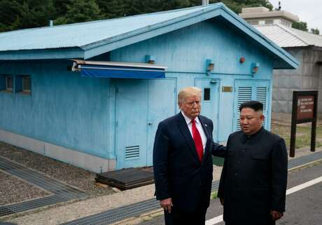 "President Donald Trump with Kim Jong Un, the North Korean leader, after crossing into the South Korean side of the truce village of Panmunjom in the Demilitarized Zone, June 30, 2019. North Korea threatened to resume tit-for-tat insults against Trump two days after he called Kim Jong-un, a ""Rocket Man"" and raised the possibility of using military force."
