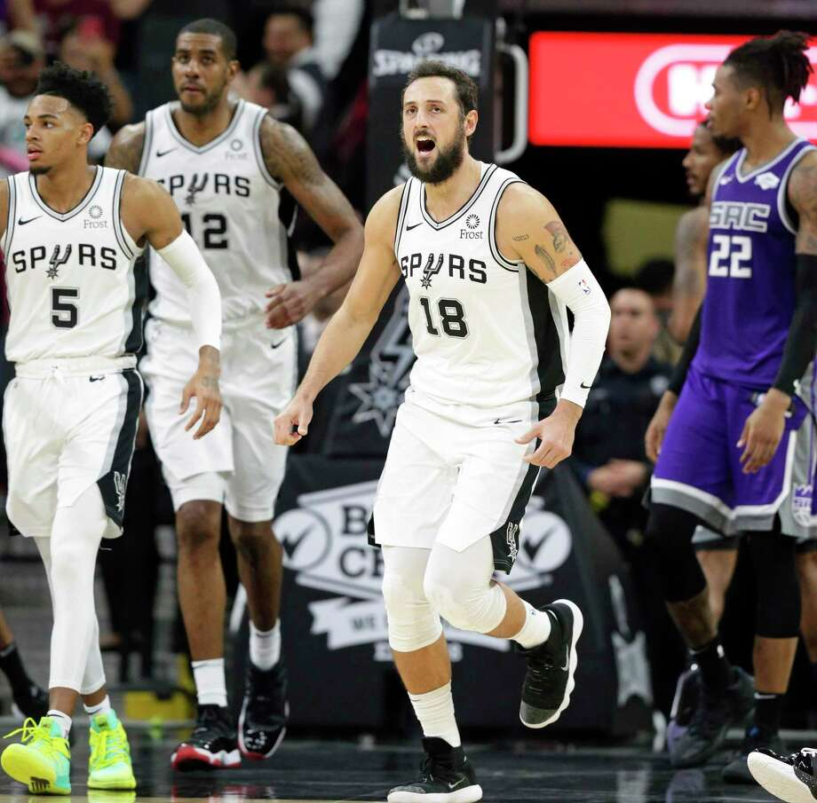 Marco Belinelli celebrates his three pointer which sent the game into overtime as the Spurs host the Kings at the AT&T Center on Dec. 6, 2019. Photo: Tom Reel, San Antonio Express-News / Staff Photographer / **MANDATORY CREDIT FOR PHOTOG AND  SAN ANTONIO EXPRESS-NEWS/NO SALES/MAGS OUT/TV