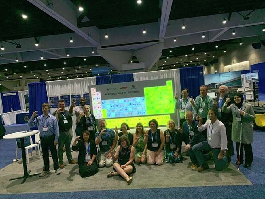 Members of the American Chemical Society Committee on Chemists With Disabilities pose with their 3D Periodic table project at the 2019 Naitonal Meeting in San Diego. (Photo provided/Mona Minkara)