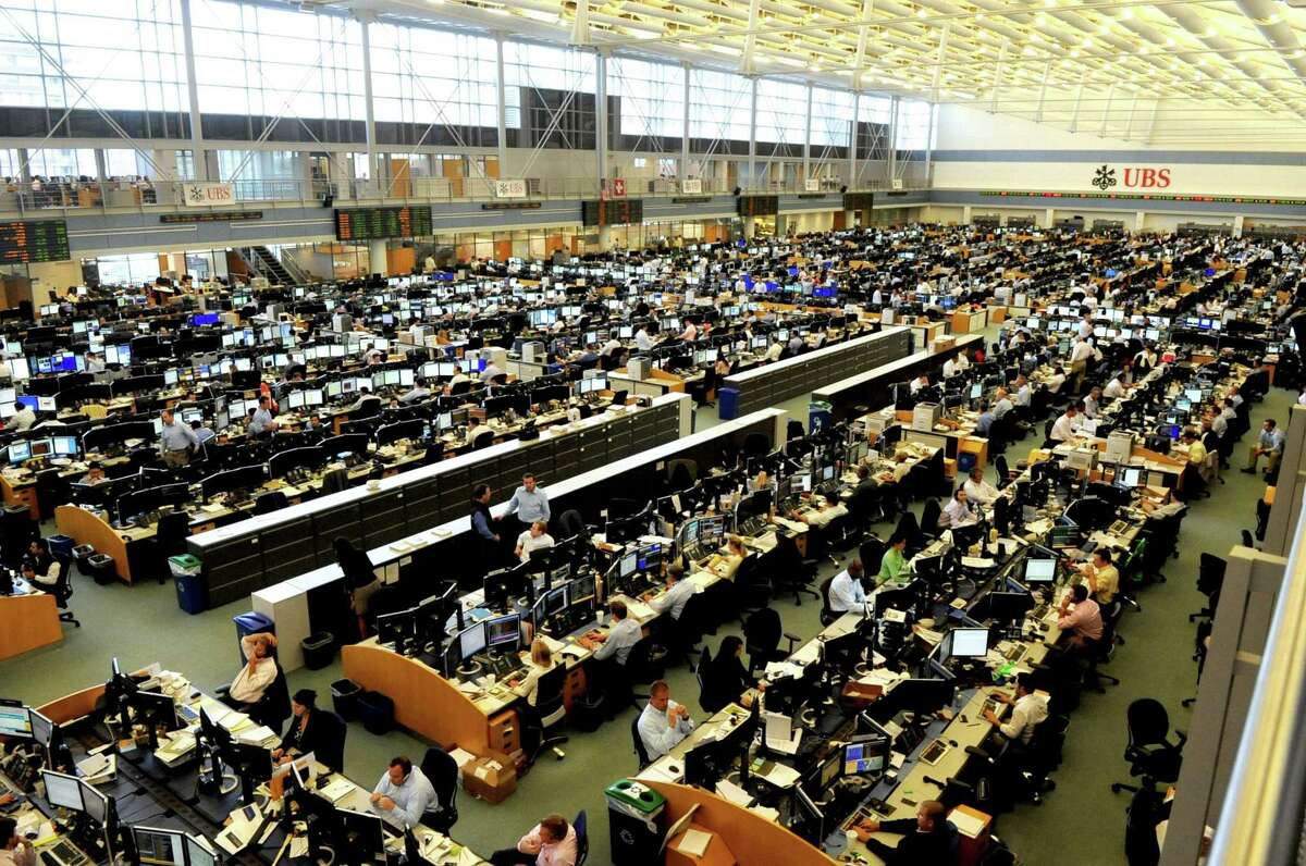 The trading room floor in the UBS building in Stamford in better times.