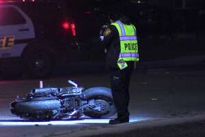 San Antonio police investigate a fatal motorcycle wreck on the far West Side Saturday, Dec. 7, 2019.