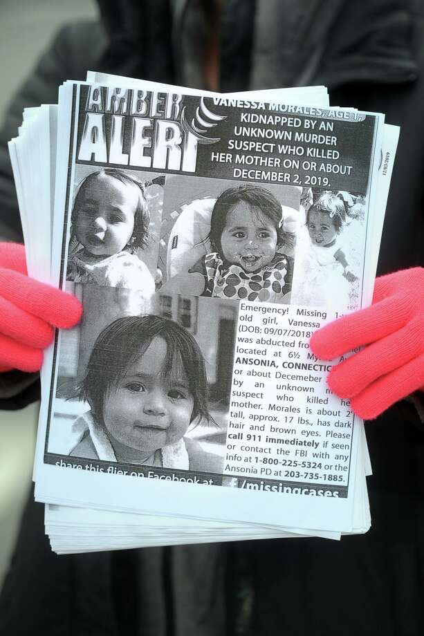 Residents concerned with finding Vanessa Morales, the Ansonia toddler who went missing after the murder of her mother, still continue to hand out flyers to bring attention to the case. Photo: Ned Gerard / Hearst Connecticut Media / Connecticut Post