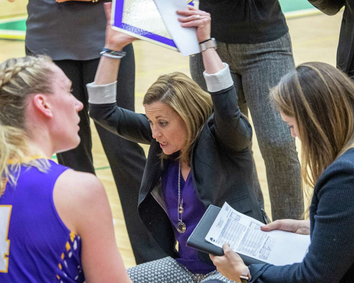 UAlbany women's basketball coach Colleen Mullen talks to her team during the Crosstown Showdown against Siena College at Siena College on Saturday, Dec. 7, 2019 (Jim Franco/Special to the Times Union.)