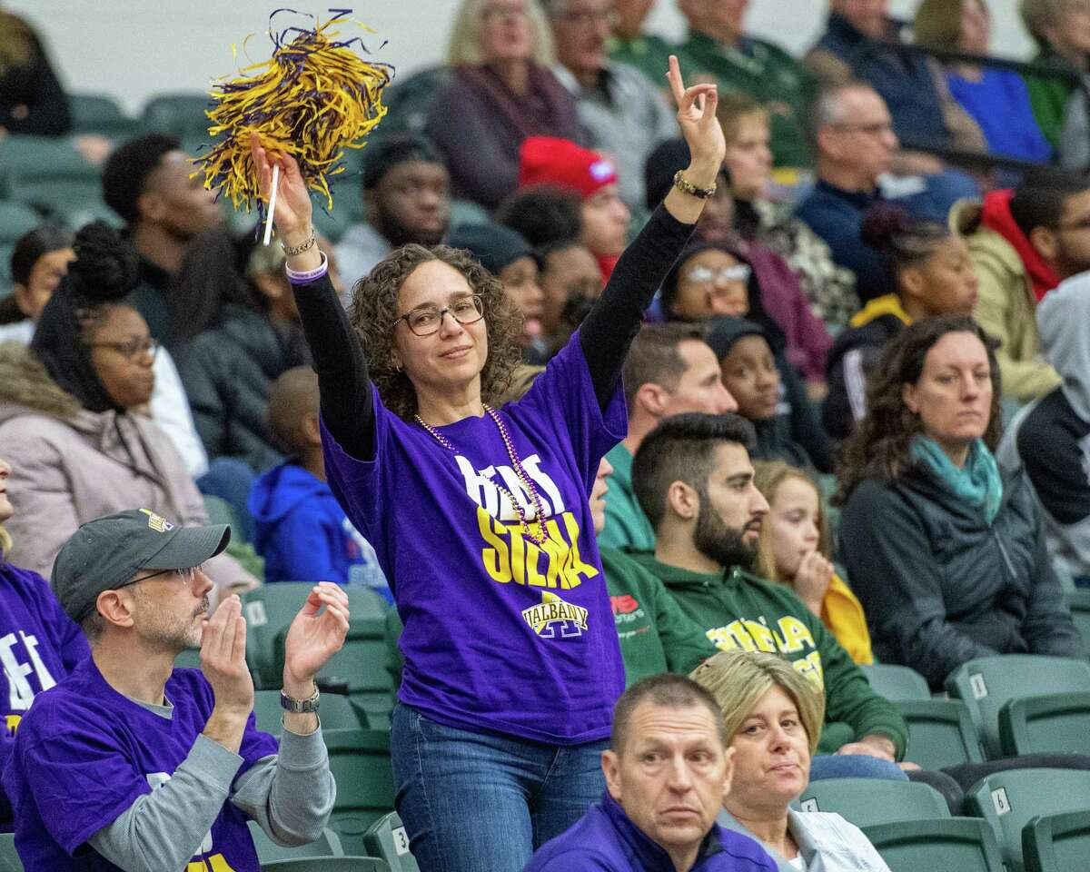 A UAlbany women's basketball fan during the Crosstown Showdown against Siena College at Siena College on Saturday, Dec. 7, 2019 (Jim Franco/Special to the Times Union.)