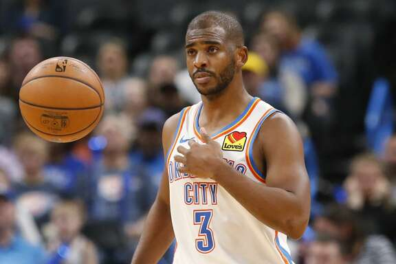 Oklahoma City Thunder guard Chris Paul (3) in the second half of an NBA basketball game against the Indiana Pacers Wednesday, Dec. 4, 2019, in Oklahoma City. (AP Photo/Sue Ogrocki)