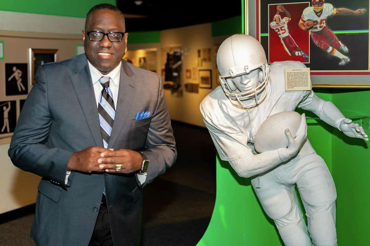 Former Lincoln High School graduate and CFL WR Don Narcisse stands for a photo in the sports area as he is inducted into the Museum of the Gulf Coast in Port Arthur on Saturday. Fran Ruchalski/The Enterprise