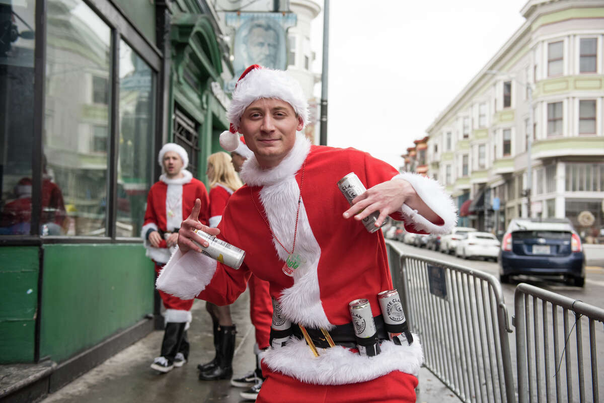On Dec. 7, 2019, hundreds of Santas flocked to Union Square and bars around San Francisco for SantaCon. This year, the event is canceled.