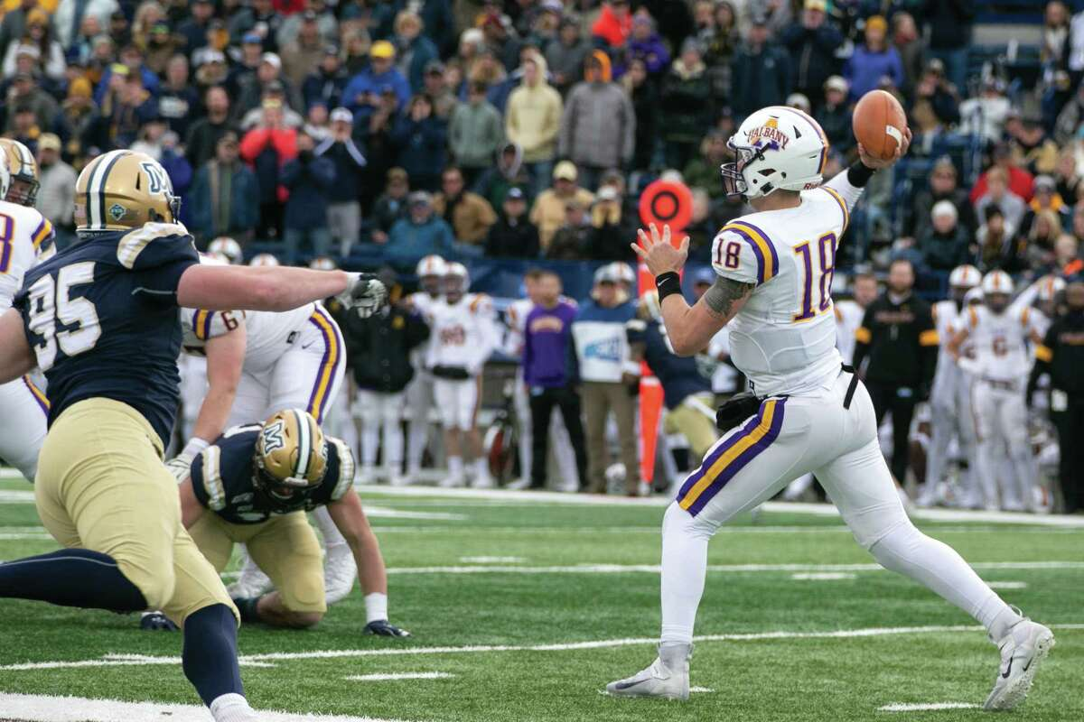 Albany quarterback Jeff Undercuffler makes a throw over the defense Saturday, Dec. 7, 2019, at Bobcat Stadium in Bozeman.