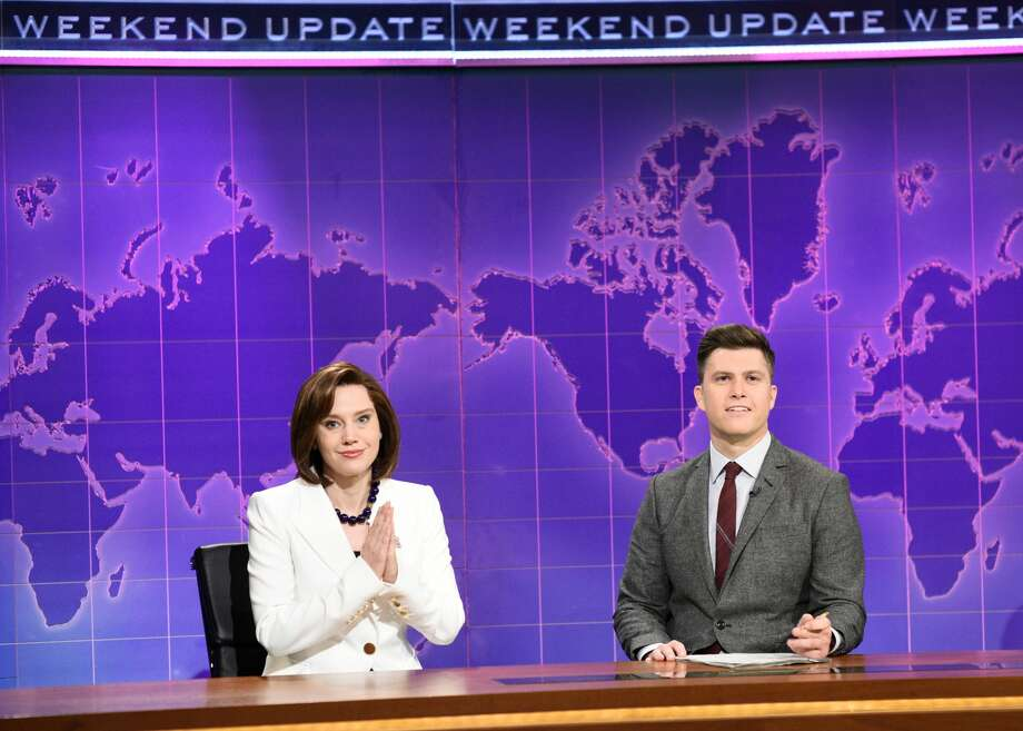 Kate McKinnon as Nancy Pelosi and anchor Colin Jost during Weekend Update on Saturday, December 7, 2019 -- (Photo by: Will Heath/NBC/NBCU Photo Bank via Getty Images) Photo: NBC/NBCU Photo Bank Via Getty Images