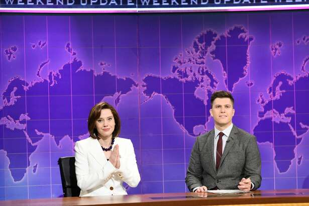 Kate McKinnon as Nancy Pelosi and anchor Colin Jost during Weekend Update on Saturday, December 7, 2019 -- (Photo by: Will Heath/NBC/NBCU Photo Bank via Getty Images)