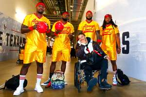 Houston Texans inside linebackers Tyrell Adams, Zach Cunningham, Benardrick McKinney, Peter Kalambayi and Dylan Cole dressed as characters from the movie Dodgeball before Sunday's game against the Denver Broncos on Sunday, Dec. 8, 2019.