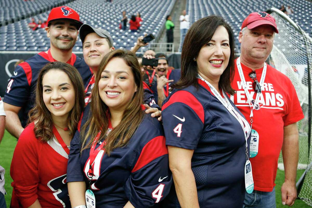 Houston Texans fans watch warm ups before an NFL football game against the Denver Broncos at NRG Stadium on Sunday, Dec. 8, 2019, in Houston.