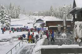 The scene Sunday morning at Northstar at north Tahoe as skiers and boarders ready for opening