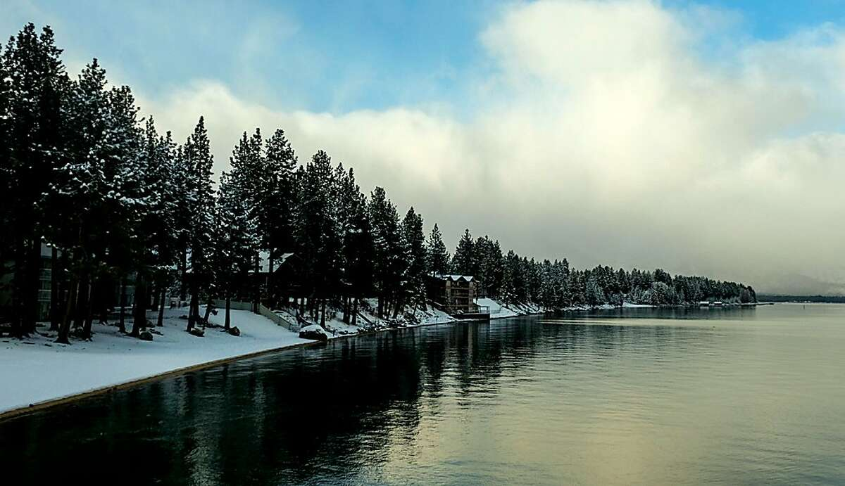 The snow level dropped to lake level overnight at Tahoe, here shown along the shore of South Lake Tahoe
