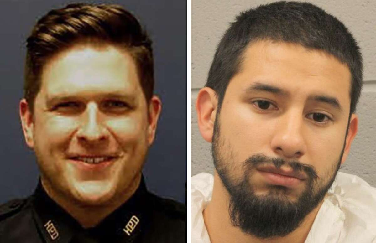 Sergeant Christopher Brewster and his suspected killer, Arturo Solis. Brewster was shot and killed while responding to a domestic violence call on the 7400 block of Avenue I in East Houston on Saturday night.