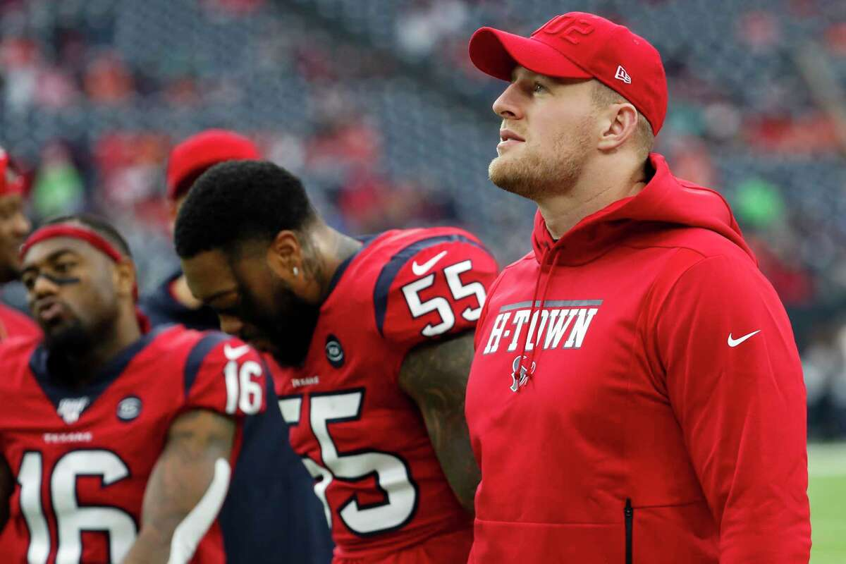 PHOTOS: J.J. Watt on the sidelines at games since his injury Houston Texans defensive end J.J. Watt watches warm ups before an NFL football game against the Denver Broncos at NRG Stadium on Sunday, Dec. 8, 2019, in Houston.