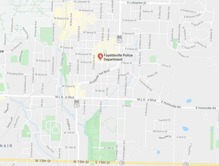 "A police officer was ""ambushed and executed"" by a gunman as he sat in his patrol vehicle parked outside his police station in northwestern Arkansas, police said Sunday. Photo: Google Maps"