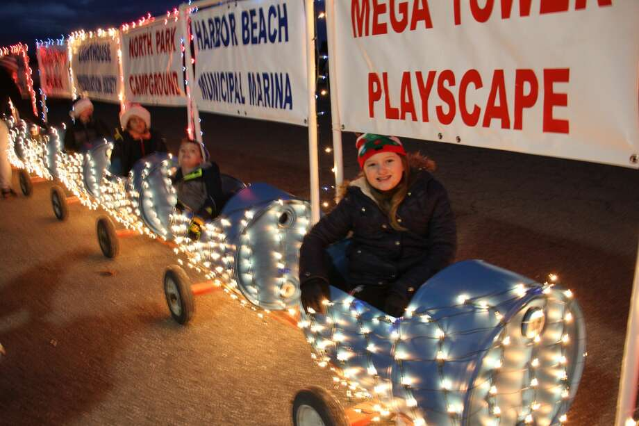 Community children ride the Parks and Recreation train downtown. Photo: Sara Eisinger/Huron Daily Tribune