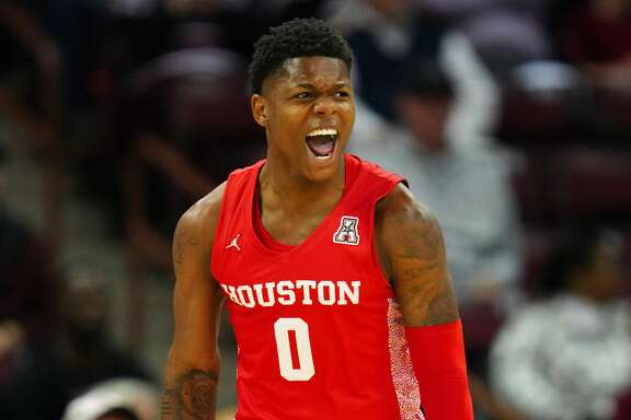 COLUMBIA, SOUTH CAROLINA - DECEMBER 08: Marcus Sasser #0 of the Houston Cougars reacts after a play during the first half during their game against the South Carolina Gamecocks at Colonial Life Arena on December 08, 2019 in Columbia, South Carolina. (Photo by Jacob Kupferman/Getty Images)