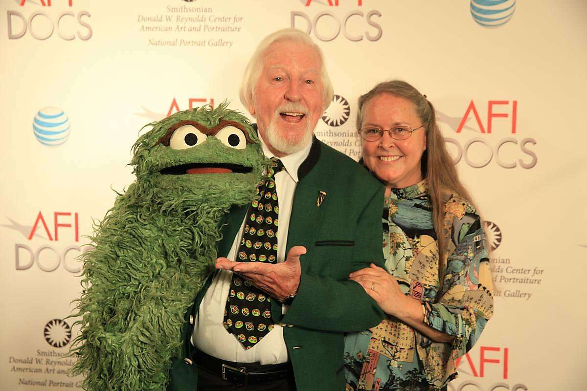 Caroll Spinney with his wife and biggest fan at the American Film Institute Docs program in 2014 Courtesy of AFI/Aidan Gray