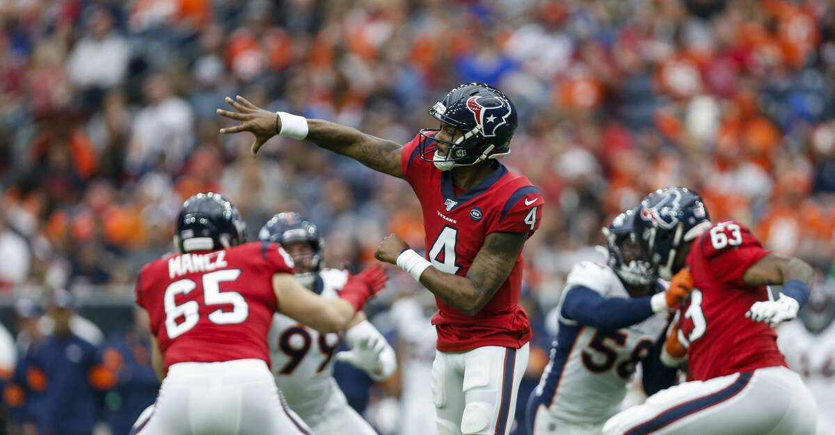 Houston Texans quarterback Deshaun Watson (4) throws the ball against the Denver Broncos during the second quarter of an NFL game at NRG Stadium Sunday, Dec. 8, 2019, in Houston.