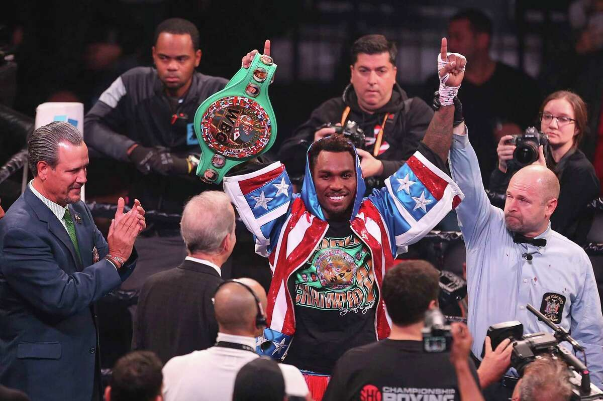 Jermall Charlo celebrates after defending the WBC Middleweight Championship with TKO in seventh round against contender Dennis Hogan during a boxing match, Saturday, Dec. 7, 2019, in Brooklyn. (AP Photo/Vera Nieuwenhuis)