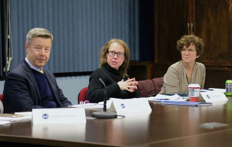 From left, Assistant Superintendent Charles Smith is with Ruth DeLuca and Gretchen Jeanes at the Board of Education meeting on Dec. 5. Photo: Jarret Liotta / Hearst Connecticut Media / Wilton Bulletin