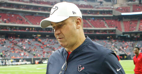 Houston Texans head coach Bill O'Brien walks off the field following warm ups before their game against the Denver Broncos at NRG Stadium on Sunday, Dec. 8, 2019, in Houston.