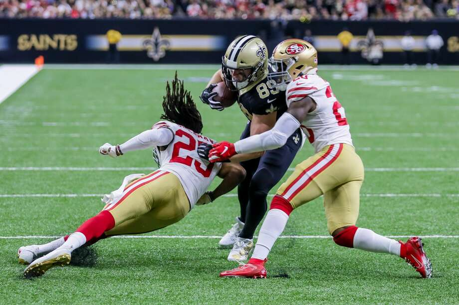 New Orleans Saints tight end Josh Hill (89) is tacked at the 3 yards line by San Francisco 49ers cornerback Richard Sherman (25) on December 8, 2019 at the Mercedes-Benz Superdome in New Orleans, LA. (Photo by Stephen Lew/Icon Sportswire via Getty Images) Photo: Icon Sportswire/Icon Sportswire Via Getty Images