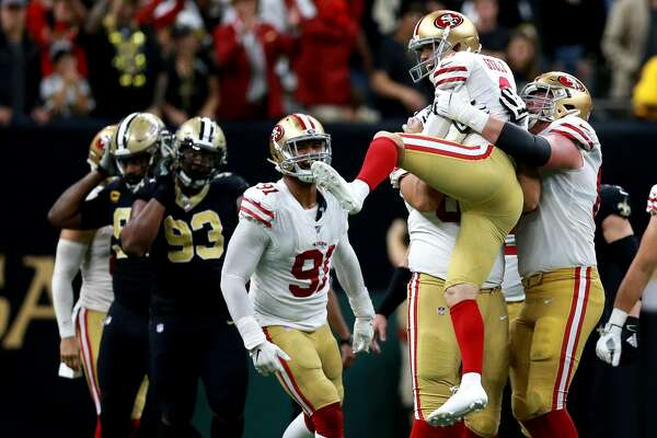 Robbie Gould #9 of the San Francisco 49ers reacts after kicking the game winning field goal during a NFL game against the New Orleans Saints at the Mercedes Benz Superdome on December 08, 2019 in New Orleans, Louisiana. (Photo by Sean Gardner/Getty Images)