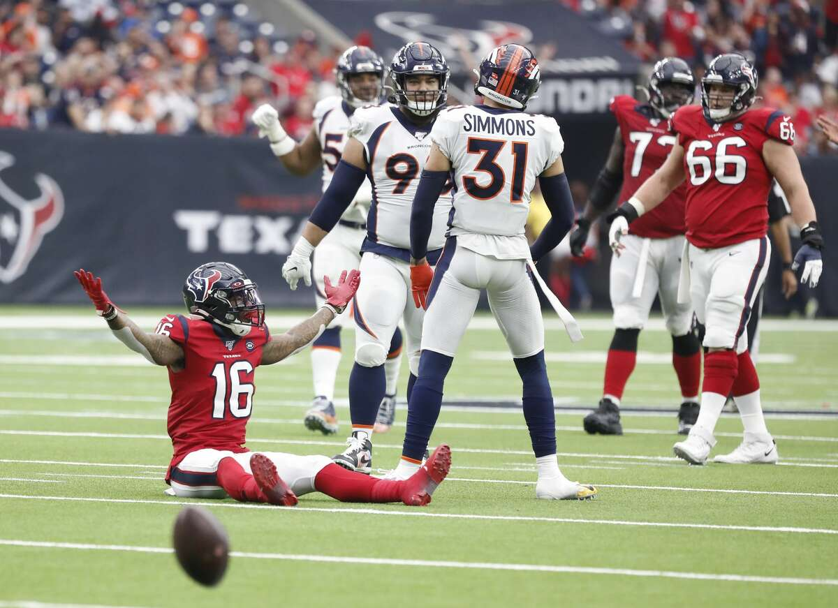 Keke Coutee (16) and the Texans were surprisingly thrown for a loss by the Broncos, and they paid for it in this week's rankings.